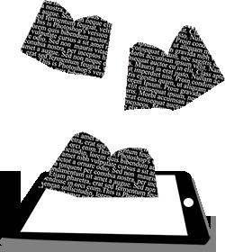 Libros saliendo de un ipad