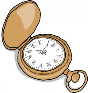 An ilustration of an old pocket watch.