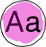 "Illustration of an ""a"" in upper and lowercase."