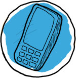 Illustration of a mobile phone.