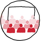 Illustration of an audience in front of a screen.