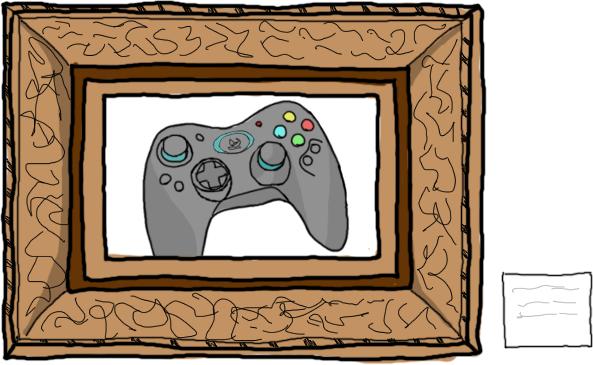 Un mando de videoconsola dentro de un marco de un cuadro.