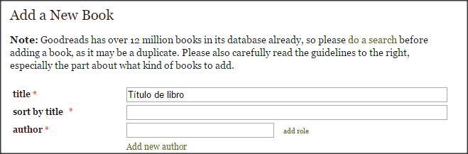 Captura en la que se muestra el formulario que hay que completar con los datos del libro.