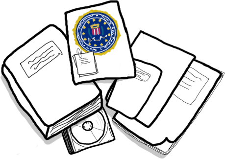 Illustration with files and the FBI logo.