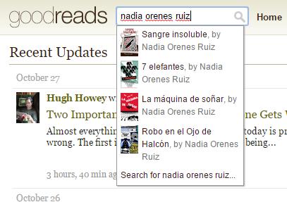 """Resultado de la búsqueda """"nadia orenes ruiz"""" en el buscador de la página de inicio de GoodReads. Aparece un desplegable con varios libros de la autora como resultado."""