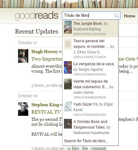 """El resultado de buscar """"Título del libro"""" en el buscador de libros. Aparecen libros que no encajan con la búsqueda, y en la parte inferior, un enlace con el texto """"Search for Título del libro""""."""
