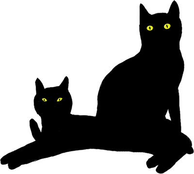 The silhouettes of two black cats. As they are one behind the other and their color is the same, it seems there is only one shape.