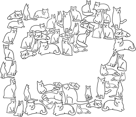 Several small cats organized so as to leave a gap that has the form of a large cat.