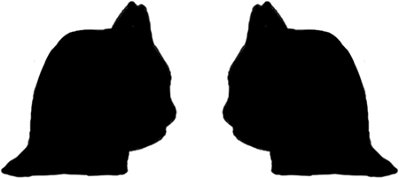 The silhouettes of the heads of two cats that can also be viewed as a vase.
