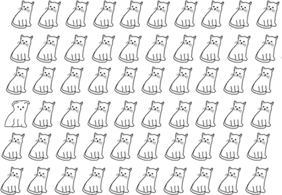 Many cats are aligned to form a grid. If you pay close attention you can see that one of the cats is actually a dog.