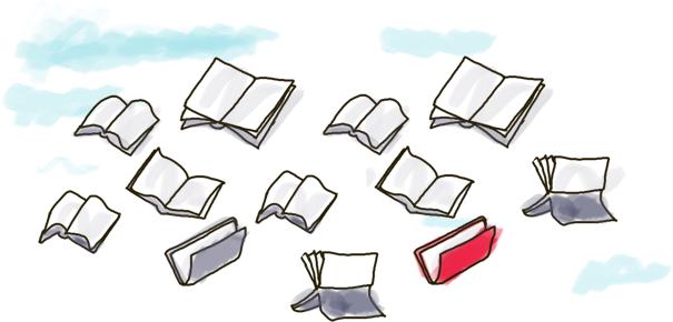 Ilustración con varios libros volando. Uno de ellos tiene un color de lomo que destaca más que el resto.