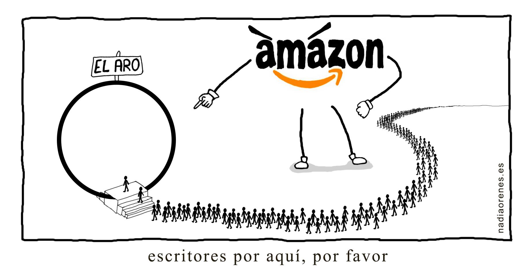 Un gigante formado con el logo de Amazon indica a una fila interminable de escritores que pasen por el aro.