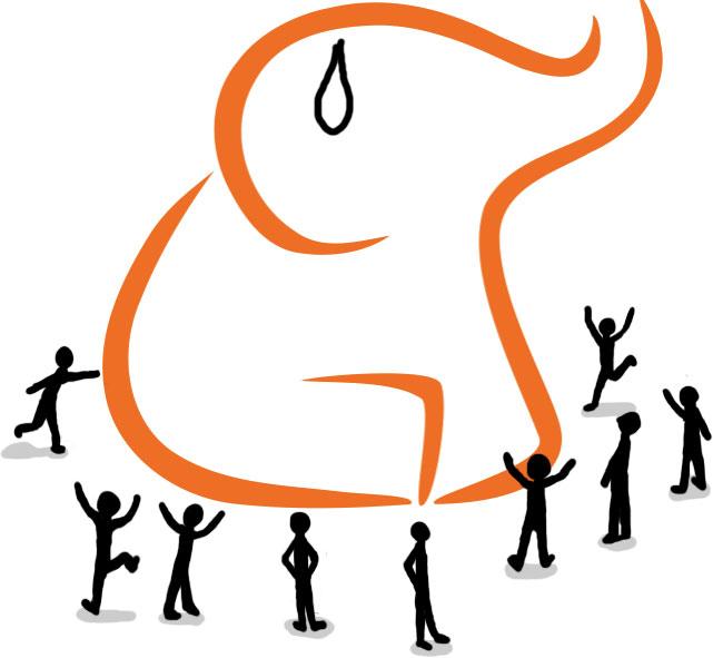 El logo del elefante de Menéame con unos hombrecillos saltando alrededor.