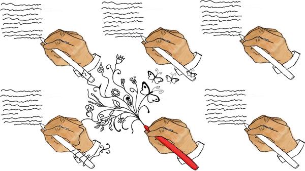 Manos escribiendo textos. Una de ellas sostiene un bolígrafo rojo, y lo que escribe no son líneas aburridas, sino formas orgánicas.