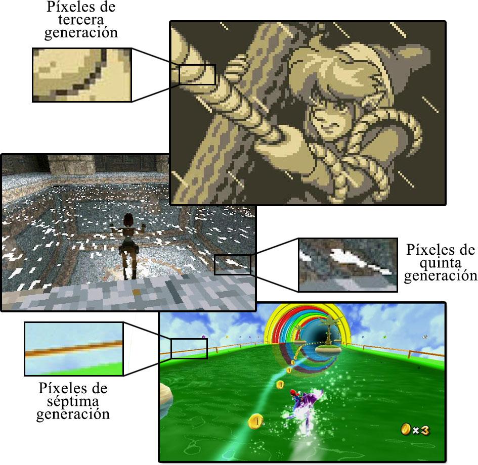 Capturas de pantalla de los videojuegos Zelda, Tomb Raider y Super Mario Galaxy.