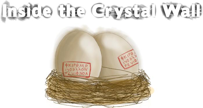 """Logo e ilustración de """"Inside the Crystal Wall""""."""
