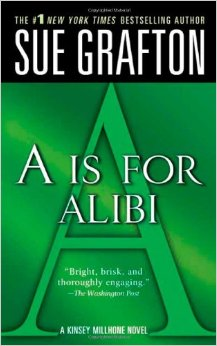 """Cover of """"A is for Alibi,"""" the first book in the """"alphabet crimes"""" series."""