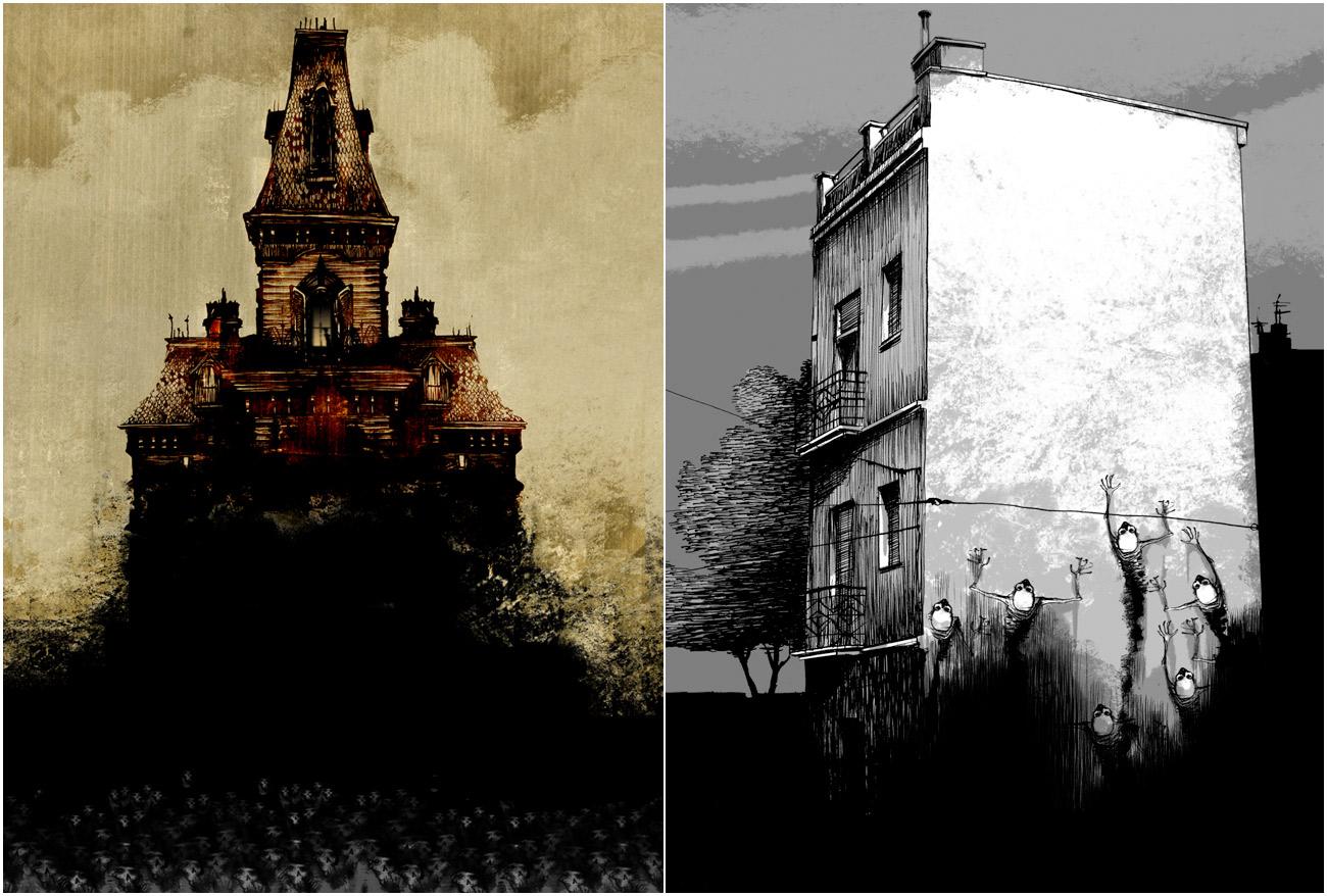Ilustraciones de Oriol Malet para La casa del torreón (Narrativa singular).