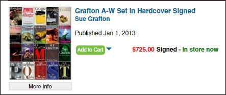 All Sue Grafton's book signed by the author.