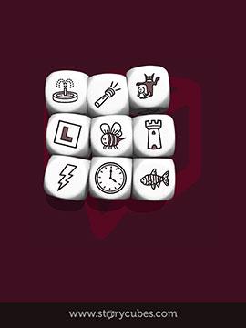 Screenshot de la aplicación: 9 Dados con iconos: fuente, micrófono, pesadilla, ele, abeja, torre, rayo, reloj, pez